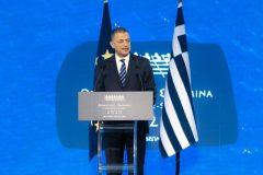 Ο Υφυπουργός Εθνικής Άμυνας Αλκιβιάδης Στεφανής κατά τη διάρκεια της ομιλίας του