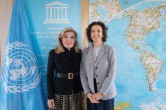 Η Μαριάννα Β. Βαρδινογιάννη με την Γενική Διευθύντρια της UNESCO Audrey Azoulay