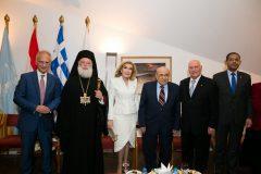 Πρέσβης Νίκος Γαριλίδης, Μακαριώτατος Πατριάρχης Αλεξάνδρειας και Πάσης Αφρικής κ. Θεόδωρος Β, Μαριάννα Β. Βαρδινογιάννη, Mostafa El Feki, Χρήστος Ζερεφός, Alla Ramadan, Οκτώβριος 2019