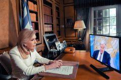 Η Μαριάννα Β. Βαρδινογιάννη παρακολουθεί την ομιλία του ΓΓ των Ηνωμένων Εθνών