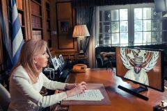 Η Μαριάννα Β. Βαρδινογιάννη παρακολουθεί την ομιλία του Προέδρου της ΓΣ του ΟΗΕ