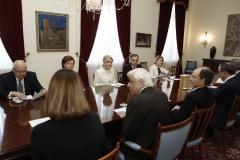 Στιγμιότυπο από τη συνάντηση των μελών του ΔΣ του  Nizami Ganjavi International Center με τον Πρόεδρο της Δημοκρατίας