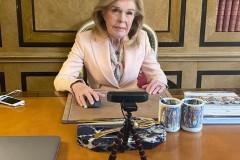 Η Μαριάννα Β. Βαρδινογιάννη κατά τη διάρκεια της τηλεδιάσκεψης